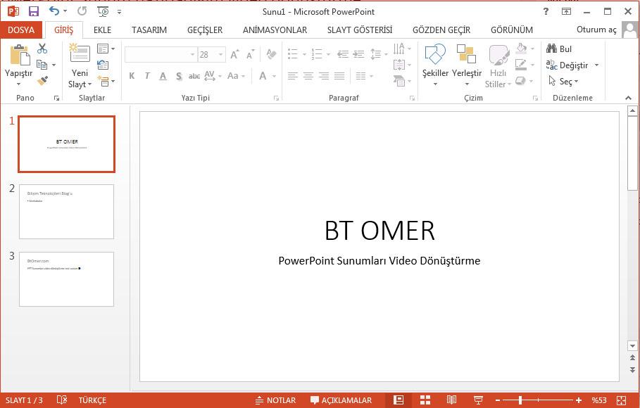 powerpoint sunum video dönüştürme çalışma dosyası