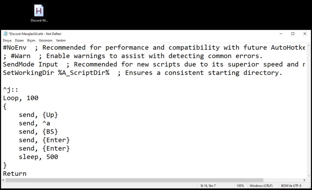 AutoHotkey Script oluşturma