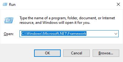 Çalıştır ekrana C: \ Windows \ Microsoft.NET \ Framework \