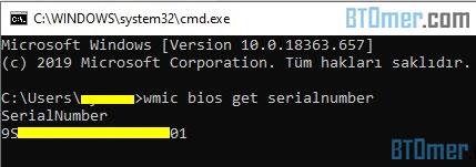 cmd bios get serialnumber