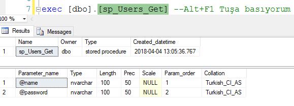 Stored Procedure (Saklı yordam) parametreli çalıştırma